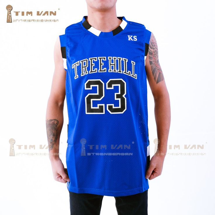 TIM VAN STEENBERGEB Nathan Scott 23 One Tree Hill Ravens Basketball Jersey All Sewn-Blue