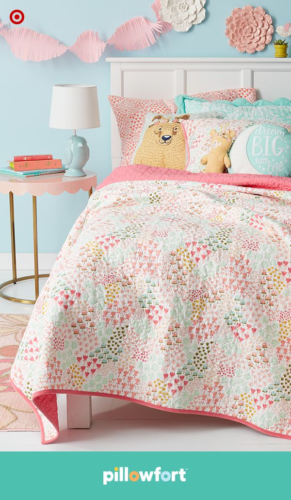 Your kiddo can create their own secret garden, with freshly picked pieces from Pillowfort's Floral Field collection. From mix-and-match, floral-print bedding and floral wall art to graphic pillow and cute animal friends in the form of pillows and table lamps, their world (or bedroom) will be in full bloom.