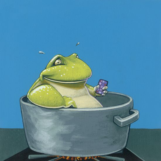 Boiling frog - 16 x 16 cm - acrylverf op papier / acrylic on paper - 2014 - in opdracht / in commission