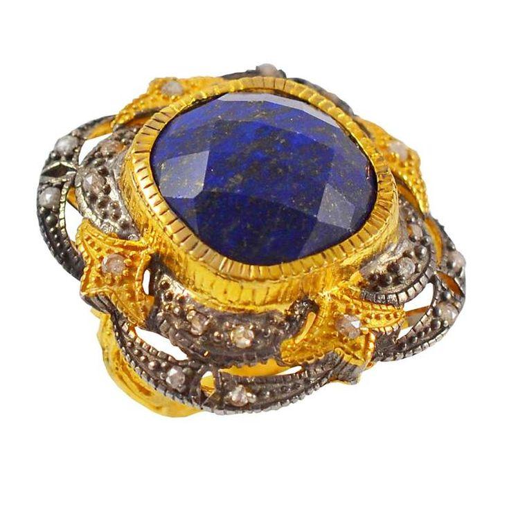 ES197- Ασημένιο επίχρυσο δαχτυλίδι με μεγάλη μπλε πέτρα