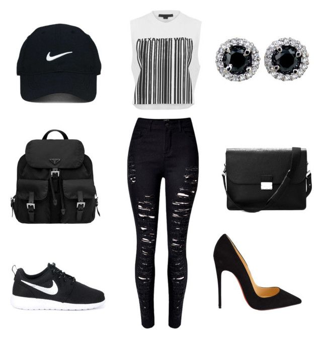 """""""Untitled #7"""" by un-title-d on Polyvore featuring Alexander Wang, WithChic, NIKE, Christian Louboutin, Aspinal of London, Prada and Nike Golf"""