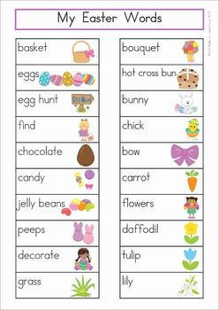 Easter Vocabulary Word Wall. Includes a personal word wall for students, a file-folder word wall for the writing or word work center and large cards for the classroom wall in color and black and white.