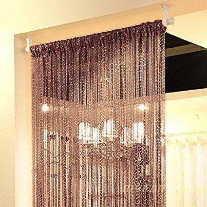Hdecor 39X78 inch Door String Curtain Rare Flat Silver Ribbon Thread Fringe Window Panel Room Divider Cute Strip Tassel for Wedding Coffee House Restaurant Parts, Dark-brown,Pack of 2