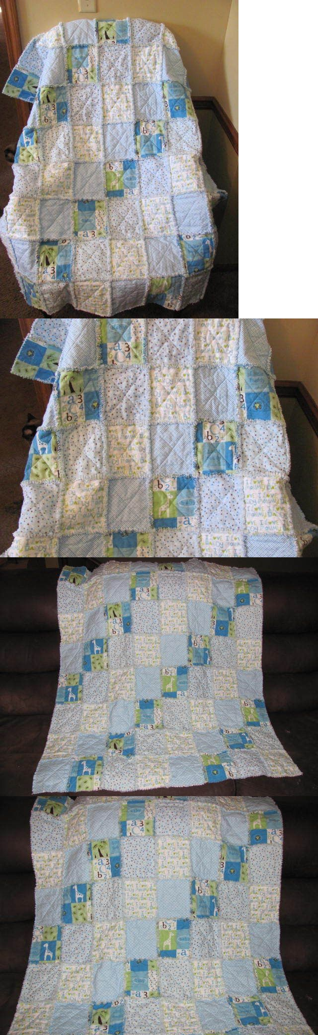 Quilts and Coverlets 180908: New Blue Flannel Reversible Baby Toddler Blanket Baby Quilt Lap Quilt Rag Quilt -> BUY IT NOW ONLY: $45 on eBay!