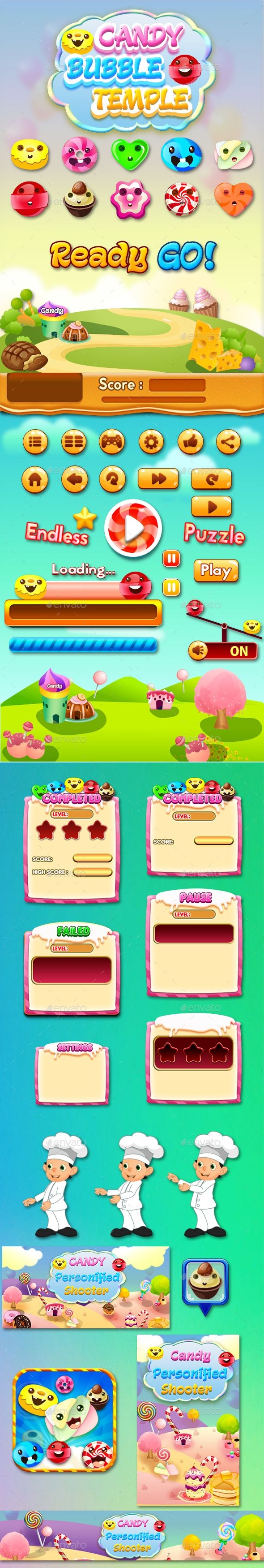 Bubble Shooter Unity Asset Reskin : Candy Bubble Temple - Game Kits Game Assets