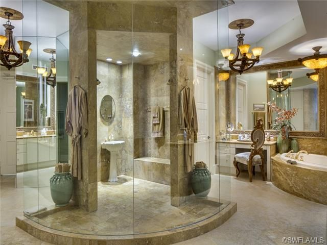 Massive large master bathroom walk in shower with it 39 s for Big bathroom