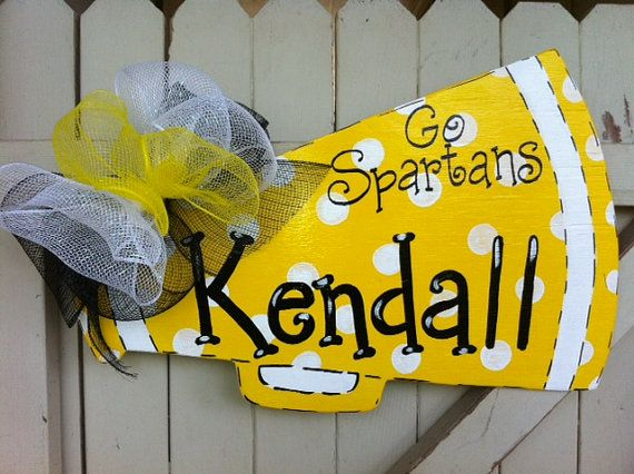 Personalized Cheerleader Megaphone Wooden Door by Earthlizard