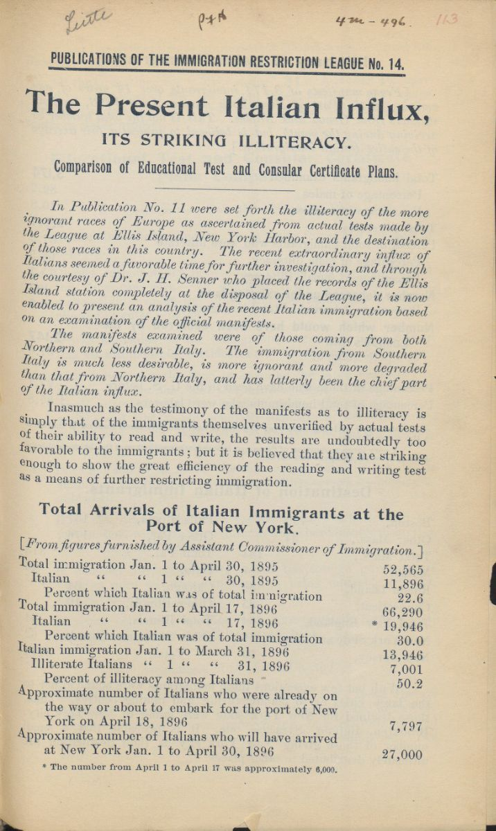 US Immigration through Primary and Other Sources