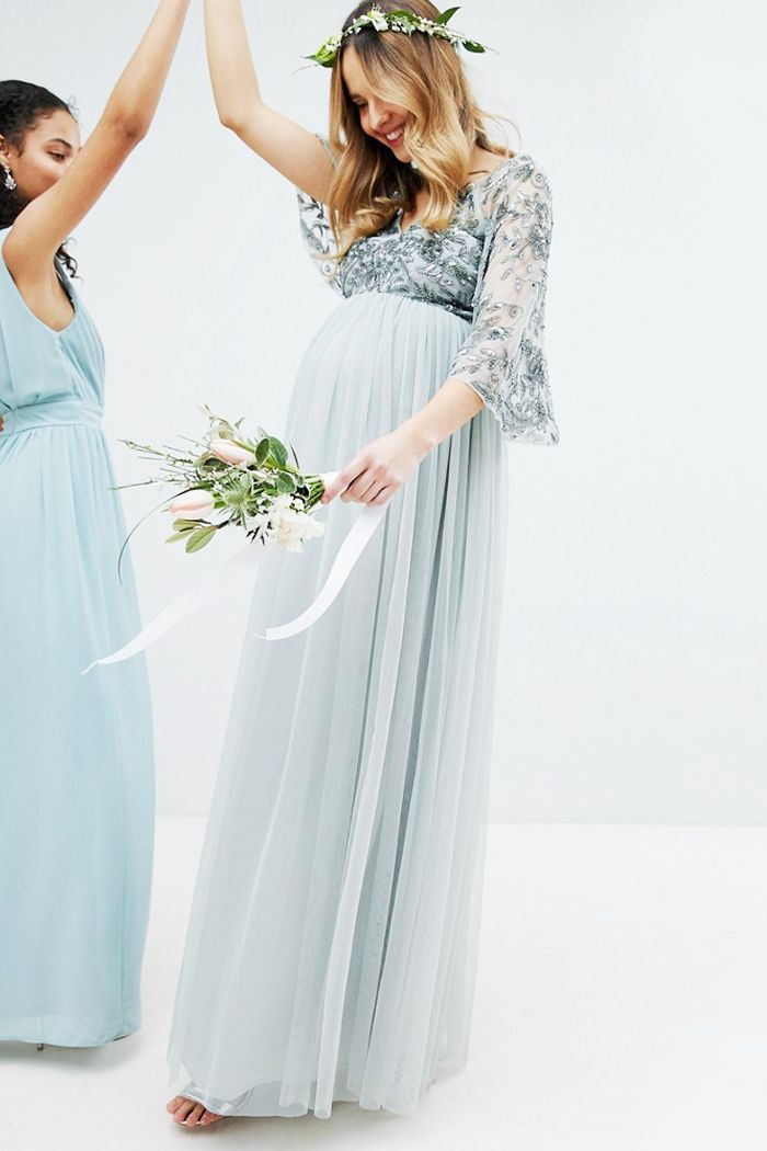 1d3b5cb19c572 Perfect for the pregnant bride, this silver grey dress from the Maya  Maternity occasion collection makes a stunning choice for a maternity  wedding dress ...
