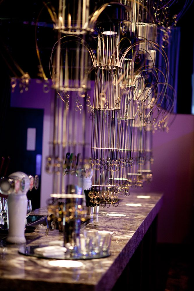 The custom-built bar featuring exquisite overhead chandeliers. Showtime Events Centre, South Wharf.