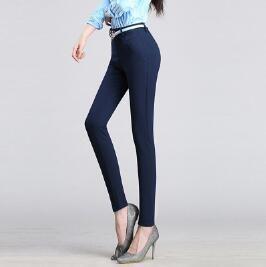{Guoran} Pencil Pants Office Work Suit Trousers Large Size 4Xl Lady Slim Leggings Black Blue Red Femme Pantalon blue M