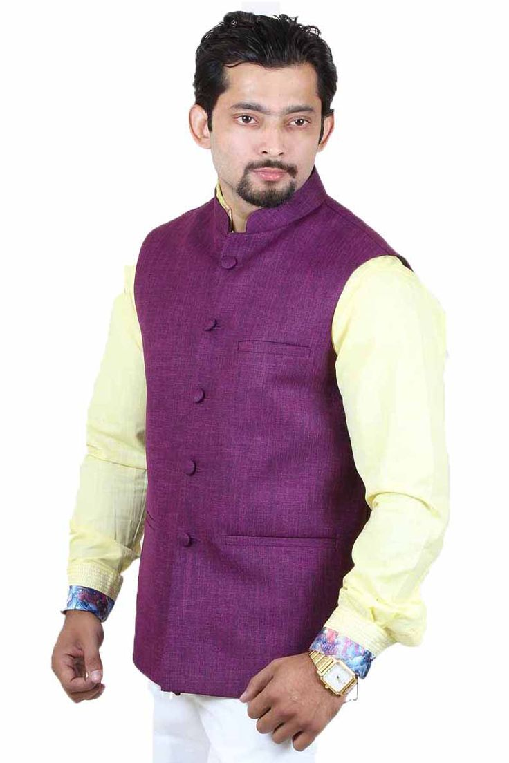 http://tinyurl.com/jkbow4v Buy Online Exclusive & Party Wear RAI SAHAB Mauve Jute Modi Jackets only on GetAbhi.com