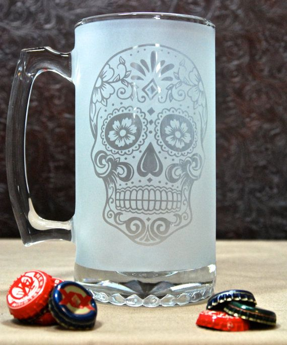 Glass Etched Sugar Skull Mug -Day of the Dead -Sandblasted Glass -Fully Etched Glass Gifts -Custom Glass Etching -Custom Beer Mug Beer Glass