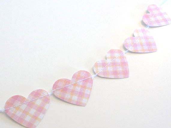 Pink Plaid Paper Heart Cake Bunting Garland Mini by ShastaBlue, $3.00