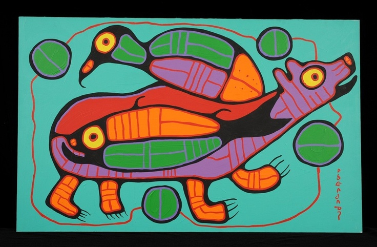 Norval Morrisseau Original Painting on Canvas of a
