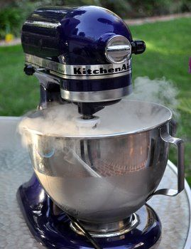 Very interesting--this blog tells you how to make ice cream with dry ice!  I like the idea that I can use my KitchenAid mixer to make the ice cream.