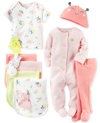 Carter's Baby Girls' Little Blooms Clothing Sets, Burp Cloths & Mitts