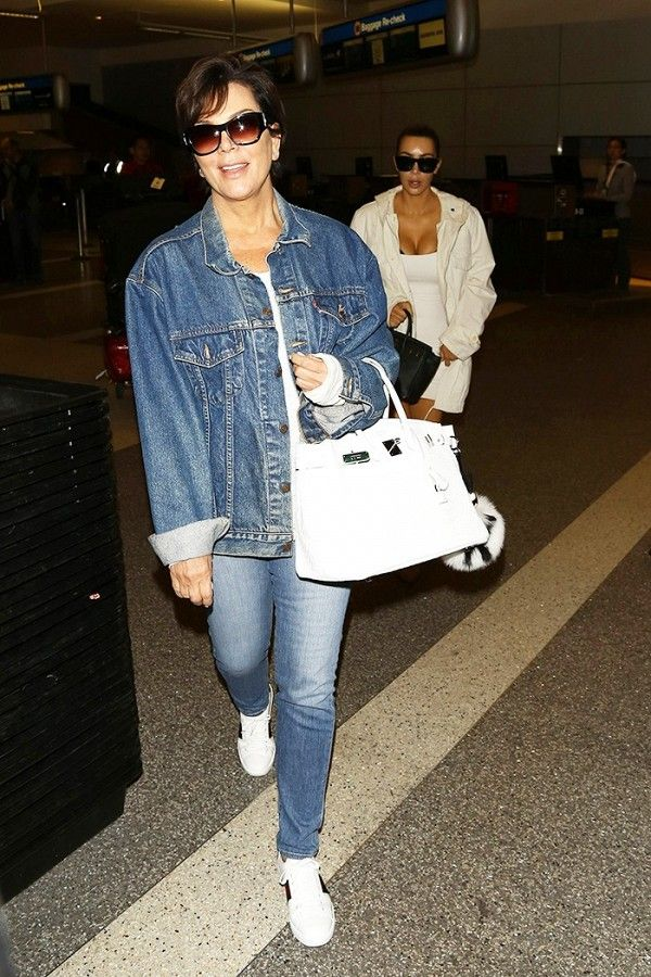 Kris Jenner, 60, looks cool with a denim-on-denim look paired with sneakers