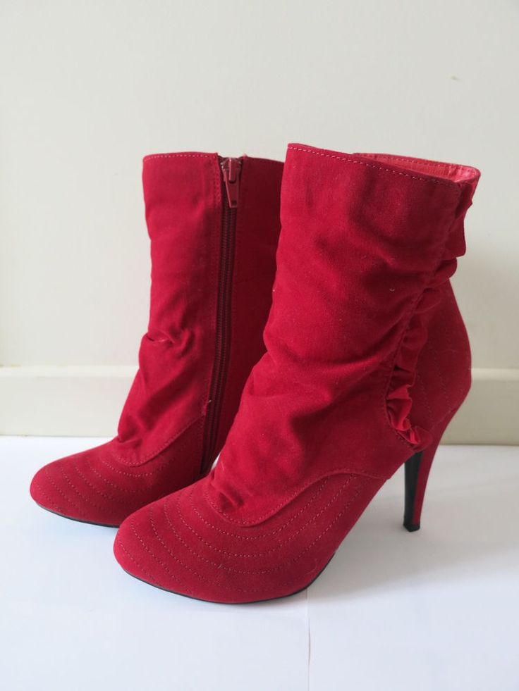 ESPERENCE Boots Red High Heel Size 7 BUY 4 or more items 4 FREE POST