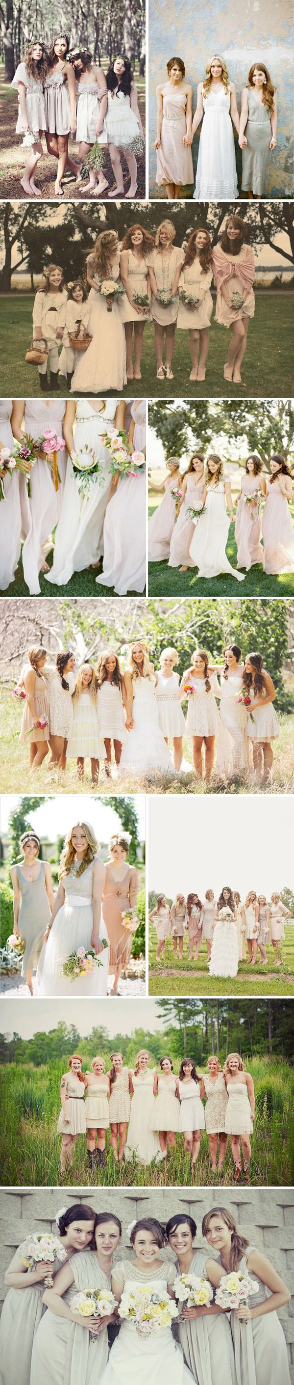 white/off-white/light colored bridesmaids palette...I can see this. I like how the girls have different bouquets