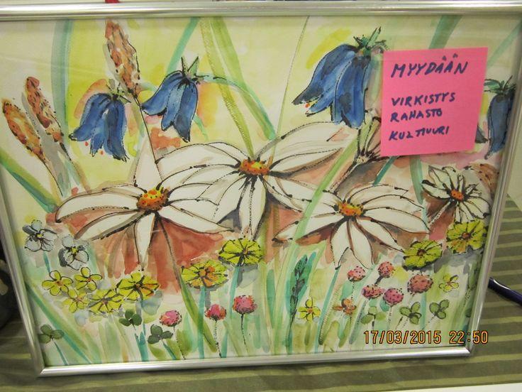 Toinen taulu joka myydään..  Taiteilija Seija Käki lahjoittanut teoksen, joita hän maalaa asukkaiden kanssa yhdessä