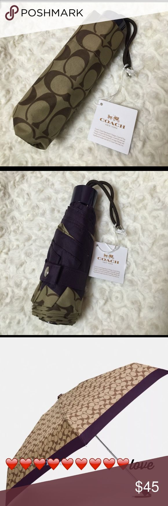 Coach Signature Mini Umbrella You need this! Fits in you purse, briefcase, suitcase - perfect colors for boy men and women. New with tags. Ships with Coach gift box. $65 Coach Accessories Umbrellas