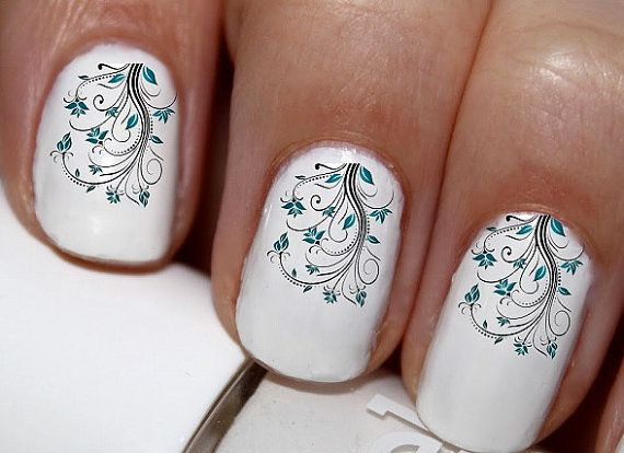 20 pc Blue Leaves Flowers Vine Flower vine Nail by EasyNailTrends