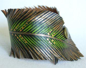 Gold Peacock Bracelet Double Wrap Black Faux by AshleyAnnBennett