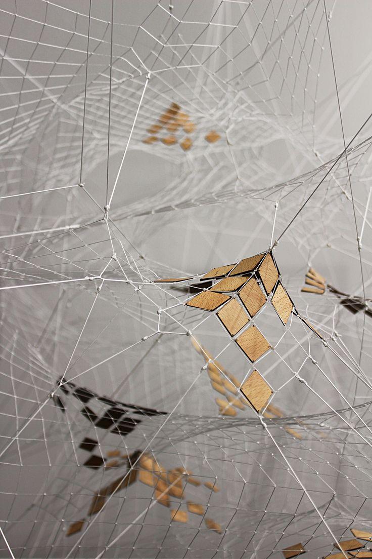 White net with wooden details Tomás Saraceno, 2014 Tanya Bonakdar Gallery, NYC Art|Basel 45, 2014