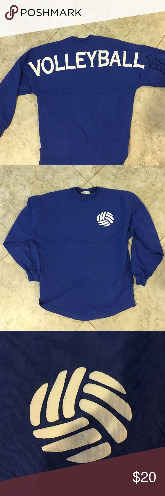 Varsity jersey Royal blue/purple logg sleeve volleyball varsity jersey shirt. has a small volleyball on the front. rubs big so this would fit a size small. price is a little high because of what poshmark takes from it (Nike for exposure) Nike Tops Tees - Long Sleeve