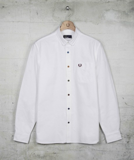 White Shirt With Coloured Buttons - Greek T Shirts