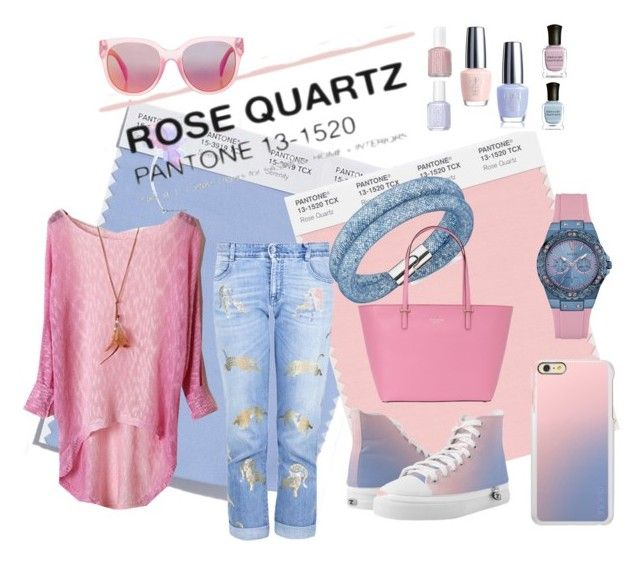 Spring's Rose Quartz by dressmeup365 on Polyvore featuring STELLA McCARTNEY, Zipz, Kate Spade, GUESS, Swarovski, Incipio and MINKPINK