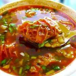 The quintessential hangover / stomach ache cure, and pretty darn delicious! Featured in Top Chef Masters, Season 1, Episode 3, this recipe was created by Cindy Pawlcyn, the executive chef and owner of three Napa Valley restaurants: Cindy's Backstreet Kitchen, Go Fish, and Mustards Grill. - Hot and Spicy Menudo