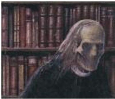 Geesten en spoken zijn een geliefd thema in literatuur over Engelse kastelen en bibliotheken. Hier een afbeelding van 'The Library Ghost' uit 'The Tractate Middoth' van M.R. James uit 1911.