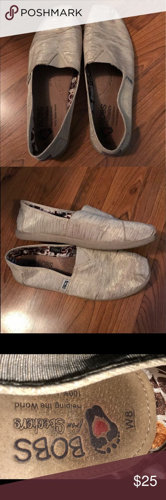🌹🌹BOBS SHOES 🌹🌹 This is a very cute pair of BOBS for women in a size 8w. They are in great condition. The colo is s shimmering gold. BOBS Shoes Flats & Loafers