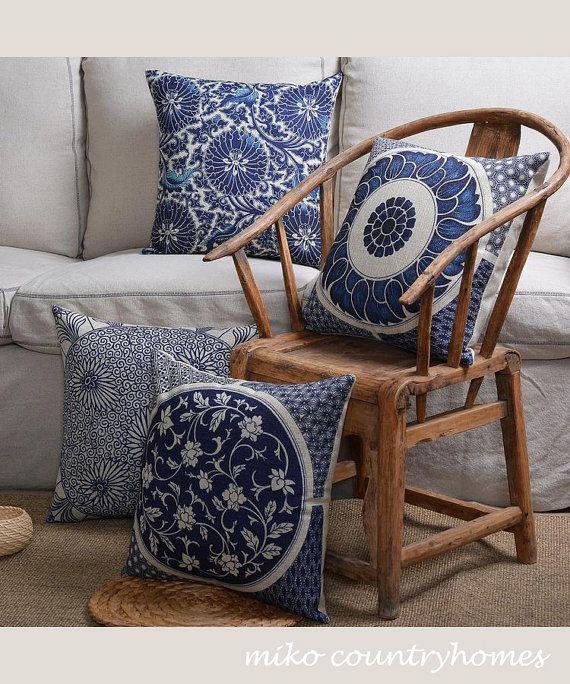 "$15 | Blue & White Chinoiserie Floral Art Motif | Linen Throw Pillow Cover | Decorative Home Decor | 45x45cm 18""x18"" #chinoiserie #homedecor #pillowcover"