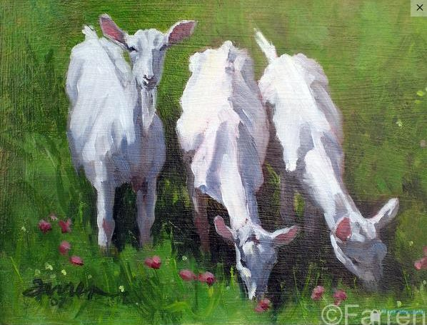 "Saturday Studio Sales: Goats in Clover, Oil on Panel, 8x10"" by Barbara Farren.  Contact Barbara to purchase this piece: https://www.barbarafarren.com/contact #BoldBrush"