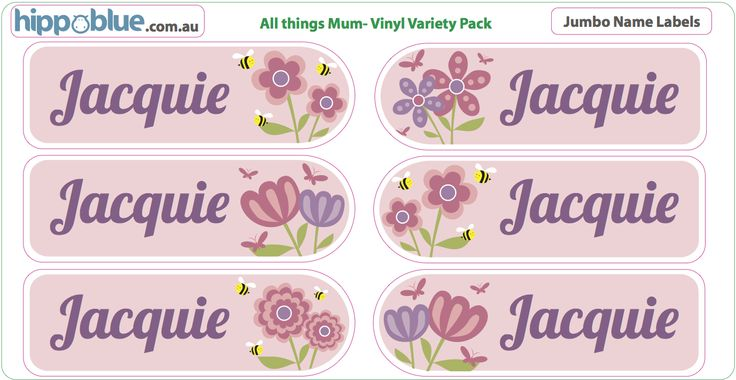 FLOWERS Hippo Blue's standard vinyl name labels are perfect for use in the home, kinder, childcare and school. Making sure all your child's belongings stay nicely organised and identified. All Hippo blue's name labels are made from high quality sourced vinyl, guaranteed extra-sticky, which gives our labels extra strength making them dishwasher, waterproof and microwave friendly.