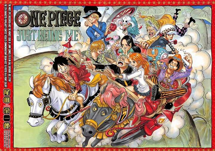 Color spread Top 10 for the latest One Piece characters popularity poll. Front cover for chapter 771. 1) Monkey D. Luffy. 2) Trafalgar Law 3) Roronoa Zoro 4) Sanji 5) Sabo 6) Portgas D. Ace 7) Tony Tony Chopper 8) Nami 9) Bartolomeo 10) Boa Hancock