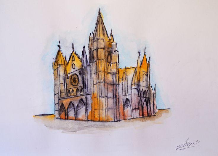 Apunte rápido Catedral de León | Acuarela y tinta #apunte #sketch #catedral #cathedral #león #acuarela #tinta #watercolour #ink #original