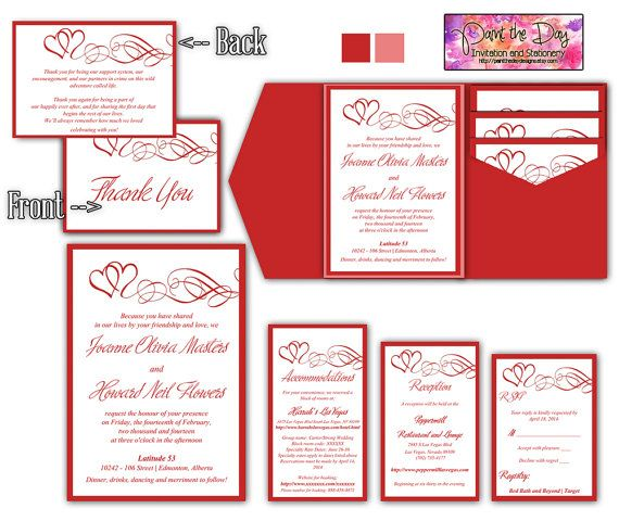 Double Heart Swirls 5x7 Wedding Pocketfold Microsoft Word Template |  Valentine Red | Invitation, RSVP. Thank You Card ...  How To Make A Thank You Card In Word