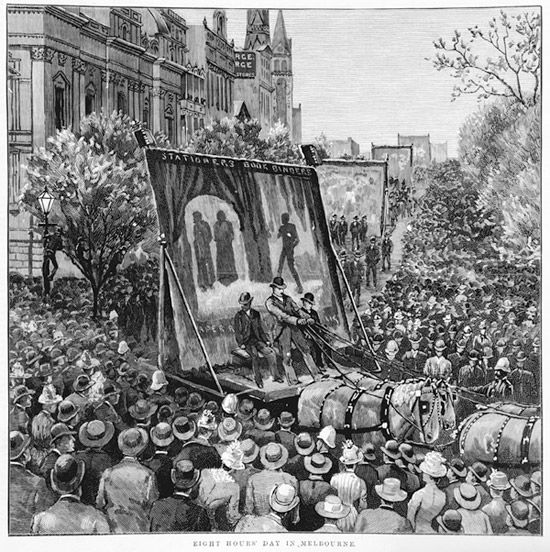 Eight Hours' Day in Melbourne. This illustration of a parade in 1889 was published in 'The Illustrated Australian News' of the 1st of May 1889