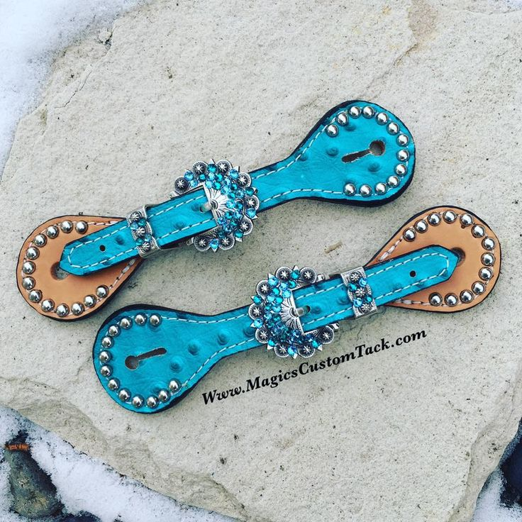 Magics Custom Tack KIDS or SMALL LADIES Turquoise bling Spur Straps Www.magicscustomtack.com