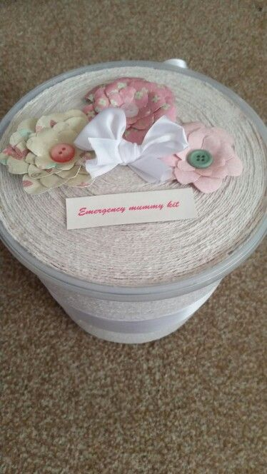 DIY emergency mummy kit.  Great for baby shower gifts!  I used a plastic tub (mine was filled with marshmallows) and used some string to layer up. Then decorated it with a big bow and paper flowers.  I also just had a baby so I looked around the house for things that I think she (best friend) would need and use.  What I filled it with... Bottle (i know she's bottle feeding) Diapers, Swim diapers, Pair of socks, Dummy's (my boy doesn't take them), Sweets, Face masks  Mini wipes, Mini night…