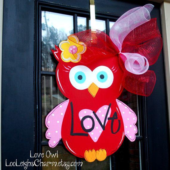 Valentine Door Hanger Owl Door Hanger Valentines by LooLeighsCharm, $45.00