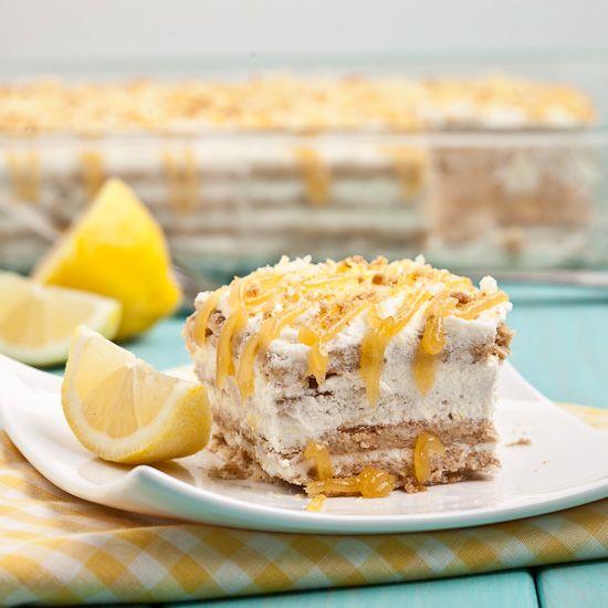 Lemon Icebox Cake (No Bake!) - Tastes like a lemony twist on Tiramisu.  Soft, airy, cakey layers mixed with lemony creaminess and lemon curd.  Refreshing, light, and amazing.