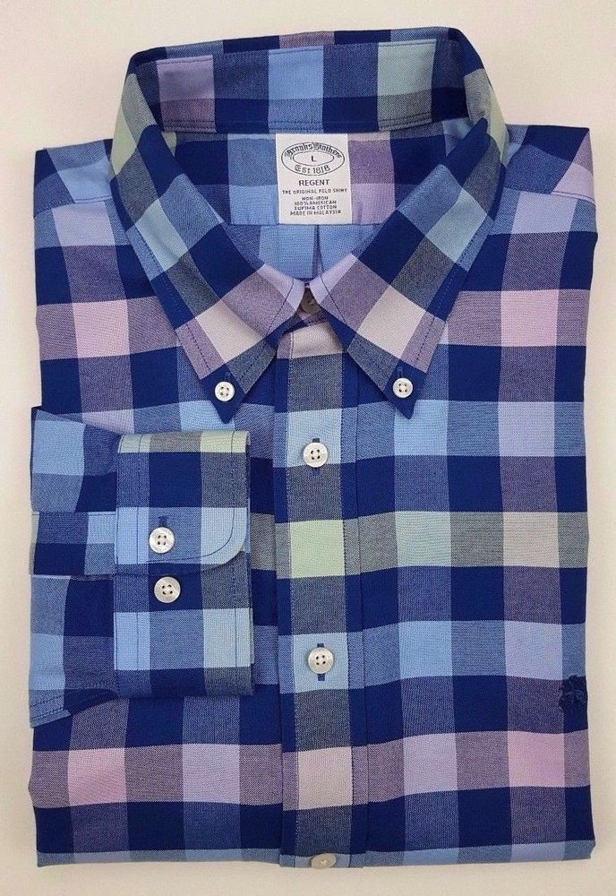 e9dd1ddd Brooks Brothers Shirt L Multicolor Gingham Checked Blue Regent Fit Supima  Cotton #BrooksBrothers #Gingham
