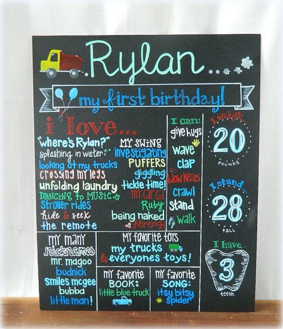 HAND-PAINTED Chalkboard Signs, Babys 1st Birthday (16x20) via Etsy
