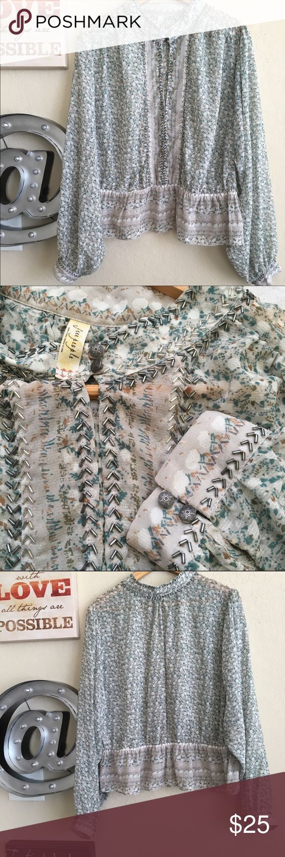 Beautiful Free people shirt Perfect condition, look like new, used twice, % polyester.  Brezy style shirt! Free People Tops Blouses