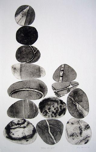 Pebbles are Great (Sepia series) - Tessa Horrocks. 2010 collagraph